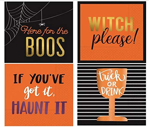Halloween Cocktail Napkins Shiny Foil Stamped Assorted Variety Pack 32 total napkins 4 different designs