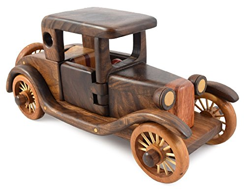 Modern Artisans American Made Wood Rumble Seat Roadster Fine Puzzle Sculpture