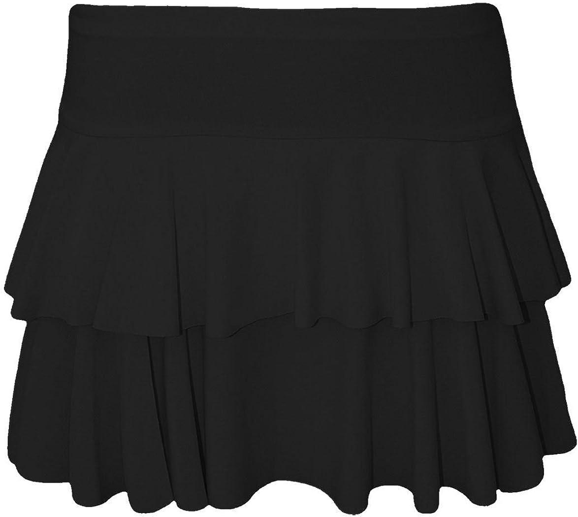 Ladies Womens Ruffle Frill Flared Mini Party Skirt Shorts High Waist UK 8-14