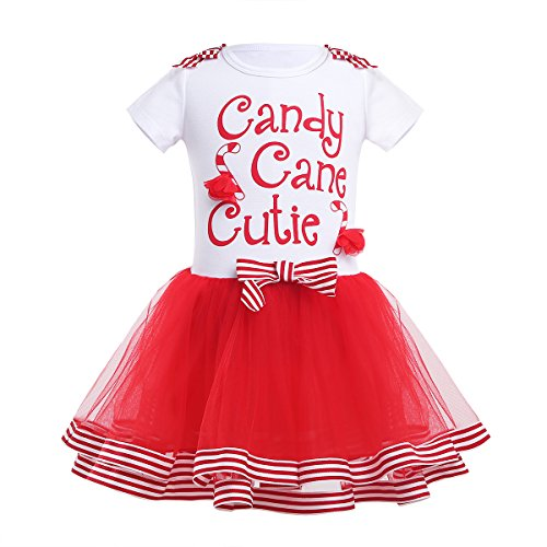 CHICTRY Little Girls' Christmas Holiday Fancy Party Short Sleeve Candy Cane Cutie Tutu Dress White&Red 5