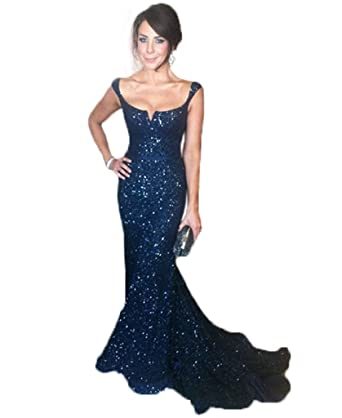 HONGFUYU Sexy Prom Dresses Long Backless Formal Evening Dress Sequin Gowns Navy-Custom Made