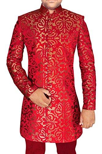 INMONARCH Mens Crimson 2 Pc Indo Western Groomsman Prom IN565S46 46 Short Crimson by INMONARCH