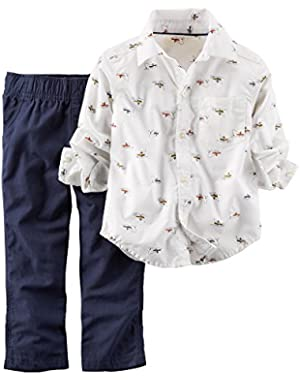 Carter's Boy 2-piece Shirt & Pant Set; White Shirt/navy Pants