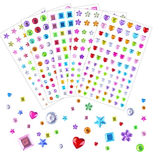 (BronaGrand 461 Pieces Self-Adhesive Rhinestone Stickers, Bling Craft Jewels Crystal Gem Stickers for Face, Makeup, Carnival, Crafts(Multicolor))