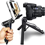 PiuQ 2-IN-1 Mini Table Top Tripod 1/4 Screw [Stabilizer Stand | Pistol Grip] with Phone Mount Holder for iPhone, Android Smartphones, DSLR SLR DC Camera & Videocam (Black)