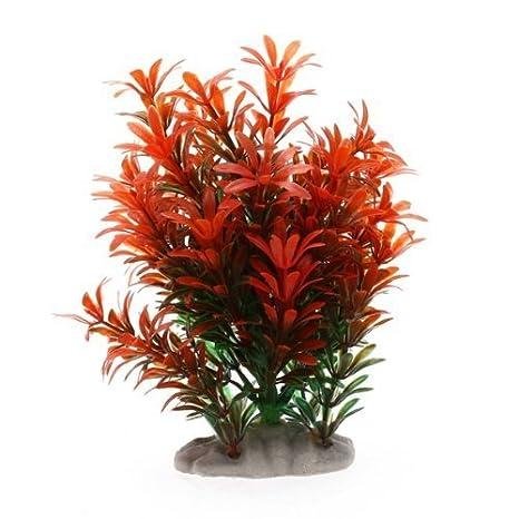 TOOGOO (R) Planta Artificial Plastico Decoracion para Acuario Pecera Color Rojo Verde: Amazon.es: Hogar