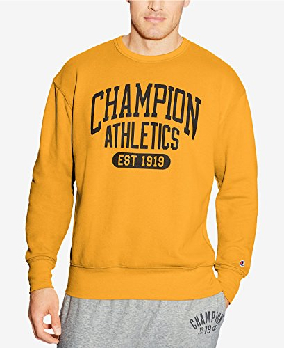 Champion Gold Crew Sweatshirt (Champion Men's Big and Tall Graphic Fleece Sweatshirt (Gold, 3XT))