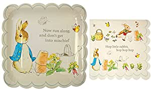 Meri Meri Peter Rabbit Large Square Party Plates and Napkins -- 12 Plates and 20 Napkins