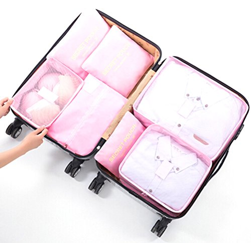 6Pcs/7Pcs Waterproof Packing Cubes Clothes Storage Travel Luggage Compression Pouches with Shoe...