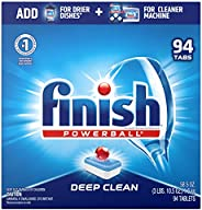 Finish All In 1, Dishwasher Detergent - Powerball - Dishwashing Tablets - Dish Tabs, Fresh Scent, 94 Count Eac