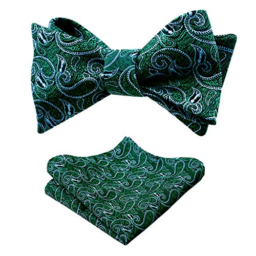 Men's Paisley Jacquard Woven Self Bow Tie with Hanky Set, Dark Green - Green Paisley Bow Tie