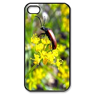iPhone 4/4s Cases Fashion beetle on a flower, Beetle Iphone 4s Case For Boys [Black]