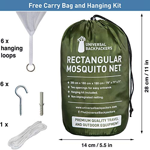 Universal Backpackers Mosquito Net for Double Bed - 6 Hanging Loops & 2 Side Openings - Bed Canopy Hanging Kit & Carrying Bag Included - Decorative Rectangular Shape for Home & Travel by Universal Backpackers (Image #4)