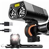Victagen - Luz para bicicleta (2400 lúmenes, luz trasera y luz trasera, resistente al agua, recargable por USB, tipo C…