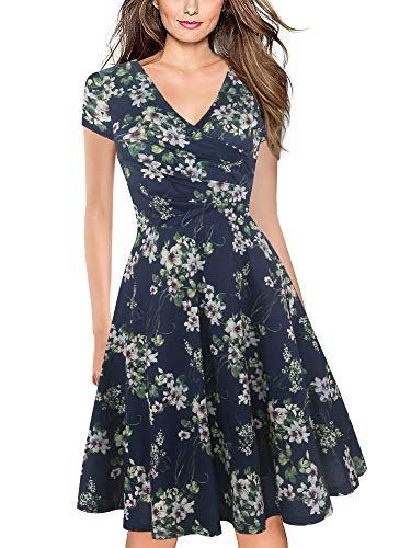 oxiuly Women's Criss-Cross V-Neck Cap Half Sleeve Floral Casual Work Party Tea Swing Dress OX233 (L, Blue Green ()