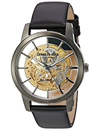 Kenneth Cole New York Men's ' Japanese Automatic Stainless Steel and Leather Dress Watch, Color:Black (Model: 10031272)