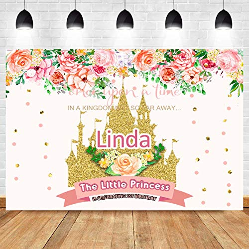 Fanghui 7x5FT Customizable Baby Girl Birthday Backdrop The Little Princess is Celebrating Birthday Photography Backdrop Floral Gold Sequin Castle Fairy Tale Theme Party Decoration Photo Booth Props