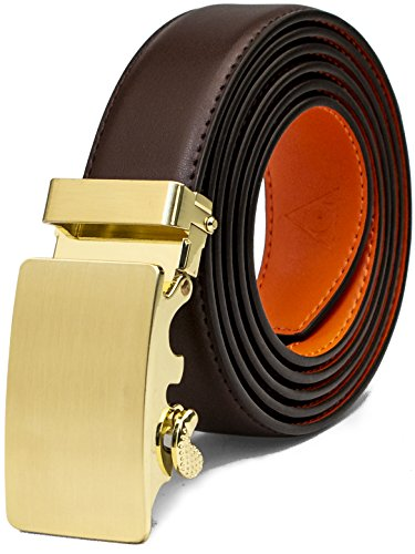 AOG DESIGN Two-Tone Leather Ratchet Belt Solid Buckle - Magnetic Edition (Gold - Brown and Orange),One Size Adjustable