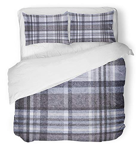 Emvency 3 Piece Duvet Cover Set Breathable Brushed Microfiber Fabric Blue Plaid Tartan Checkered Gray Wool Winter Material Scarf Flannel Autumn Cell Bedding Set with 2 Pillow Covers Full/Queen - Wool Brushed Scarf