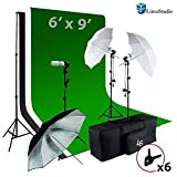 LimoStudio 6 x9 ft White / Black / Green Chromakey Fabricated Backdrop Muslin Background Screen Umbrella Lighting Kit for Photo Video Photography Studio, AGG1861
