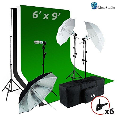 LimoStudio 6 x9 ft White / Black / Green Chromakey Fabricated Backdrop Muslin Background Screen Umbrella Lighting Kit for Photo Video Photography Studio, AGG1861 by LimoStudio