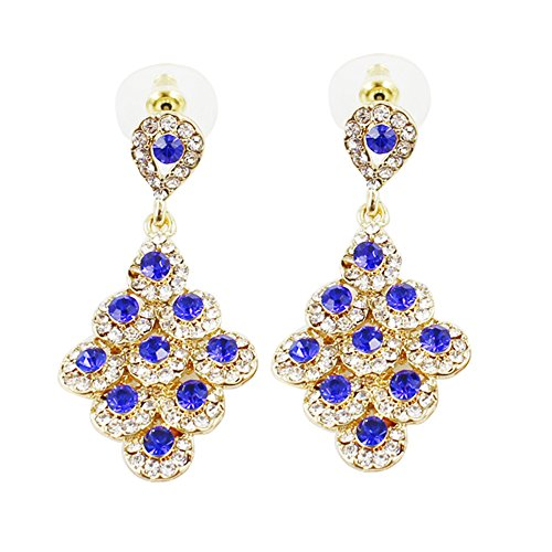 ant Gold Plated Dangle Earrings Blue Crystal Rhinestone Geometric Prom 18K ()