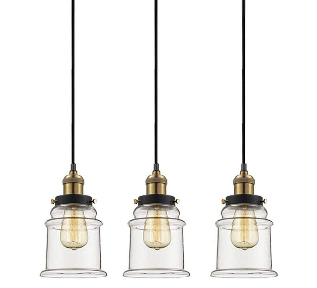 Kiven Juno Lighting 3 Pack J- Series Track Lighting Kitchen Pendant Light - Clear Glass Shade Industrial Hanging Lamp, UL Listed-The Whole Pendant Height is 50 inch.