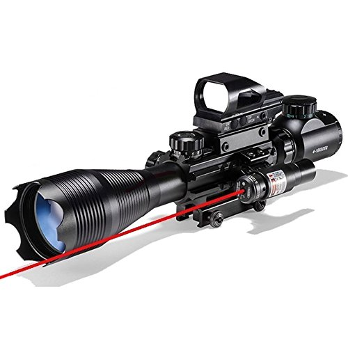 AR15 Tactical Rifle Scopes 4-16X50EG Dual Ill Reticle Scope with R&G Laser Electronic Holographic R&G Dot Sight 22&11mm Weaver/Picatinny Mount (24 Month Warranty) (C4-16x50EG+HD104+JG8(Red laser))