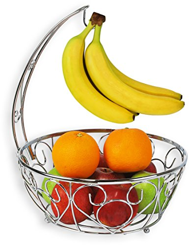 (SimpleHouseware Fruit Basket Bowl with Banana Tree Hanger, Chrome Finish)