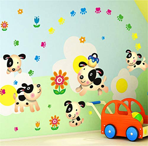 EWQHD Lovely Cartoon Dog Footprint Flower Wall Stickers for Kids Room Home Decor Removable PVC Wall Decals Wallpaper DIY Art Poster