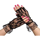 Gorse Women Fingerless Lace Gloves Wrist Length UV Protection Prom Party Driving Wedding Net (Black)