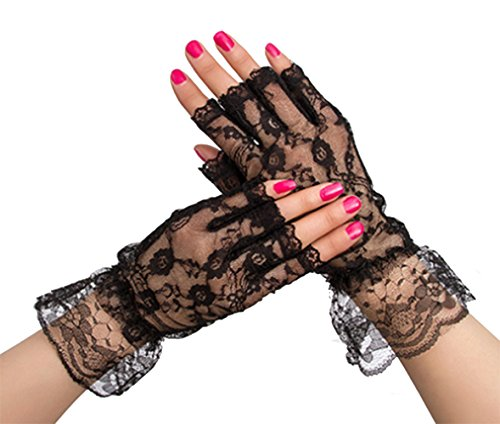 (Gorse Women Fingerless Lace Gloves Wrist Length UV Protection Prom Party Driving Wedding Net)