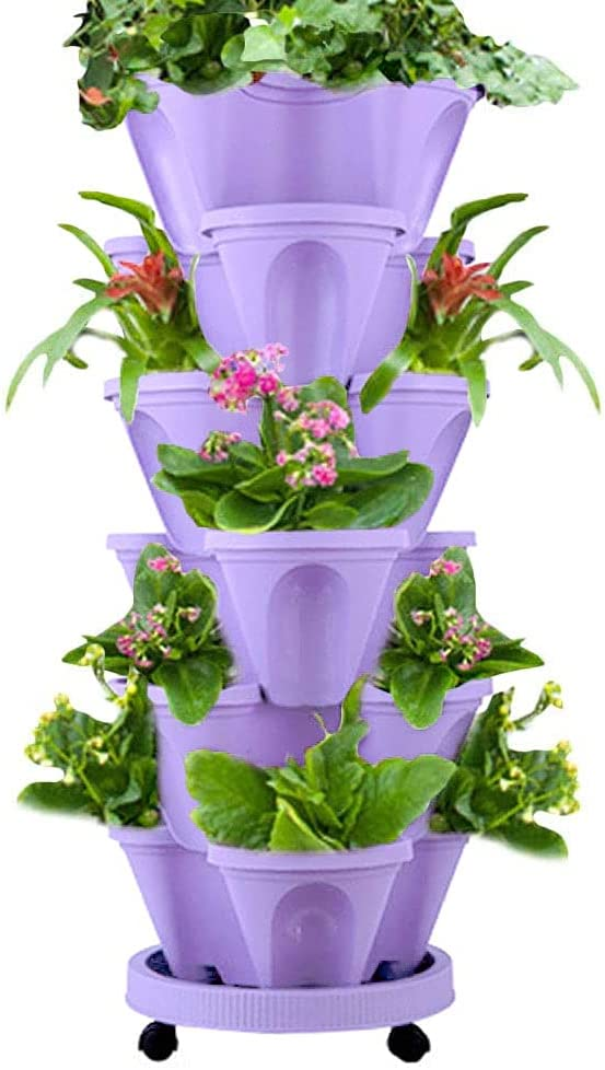 Julvie 6-Tier Strawberry and Herb Garden Planter,Indoor or Outdoor Vertical Planter Set Self Watering Tiers from Top Down Grow Fresh Plant in The Kitchen or Patio