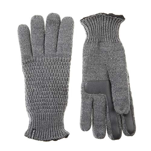 Isotoner Women's Knit Touchscreen Gloves with Water Repellent Technology, dark charcoal heather, X-Large