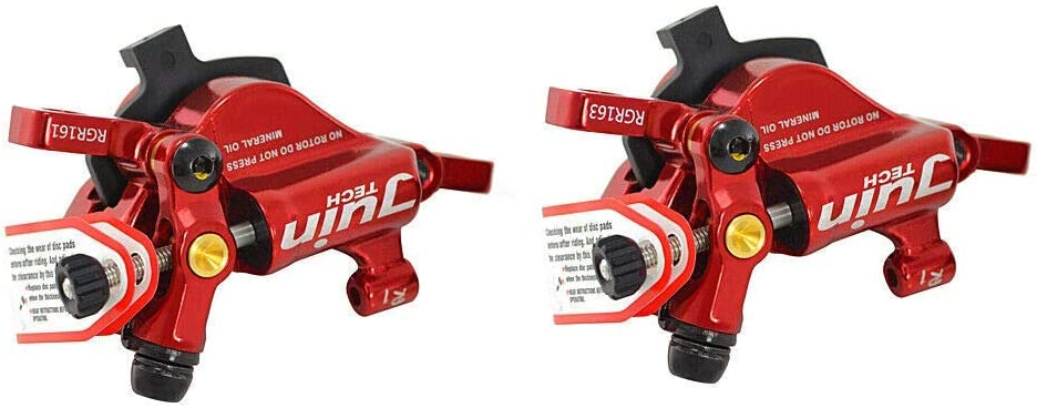Red Juin Tech R1 Hydraulic Road CX Disc Brake Set 160mm with Rotor Front and Rear JT1906