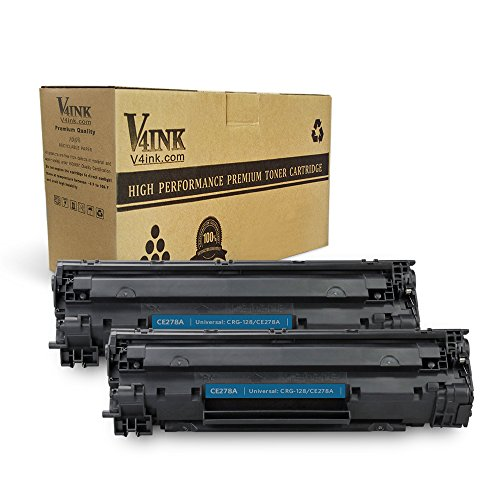 V4INK Compatible Toner Cartridge Replacement for HP 78A CE278A Canon 128 (Black, 2-Pack), for use in HP Laserjet P1606dn P1566 P1560 M1536dnf, Canon imageclass D550 D520 MF4770n MF4570dw L100 L190