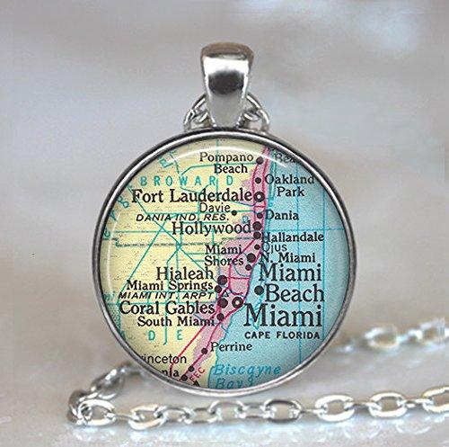 Miami map pendant, Miami pendant, Ft Lauderdale, Miami Beach, Hialeah, Coral Gables, Miami map necklace
