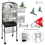ZENY 59.3'' Bird Cage with Rolling Stand Wrought Iron Pet Bird Cage Parrot Cockatiel Cockatoo Parakeet Finches Birdcage Medium Pet House