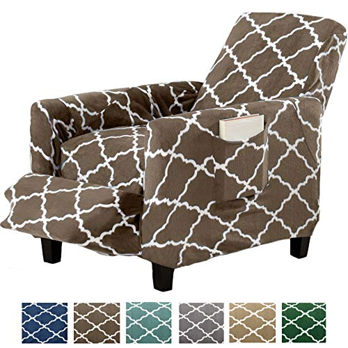 Great Bay Home Modern Velvet Plush Strapless Slipcover. Form Fit Stretch, Stylish Furniture Shield/Protector. Magnolia Collection Strapless Slipcover Brand. (Recliner, Walnut Brown)