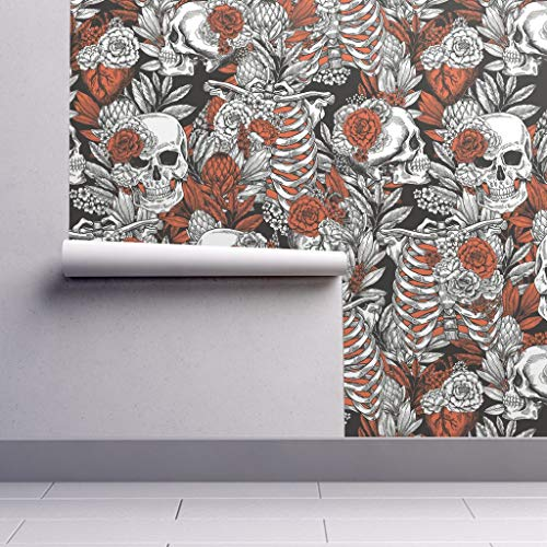 Peel-and-Stick Removable Wallpaper - Floral Spooky Halloween Spooky Halloween Bones Halloween Anatomy Skull by Adehoidar - 24in x 108in Woven Textured Peel-and-Stick Removable Wallpaper Roll]()