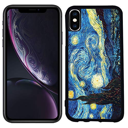 - [TeleSkins] - Rubber TPU Case for iPhone XR 6.1 inch (2018) - Vincent Van Gogh The Starry Night - Ultra Durable Slim Fit, Protective Plastic with Soft Rubber TPU Snap On Back Case/Cover.