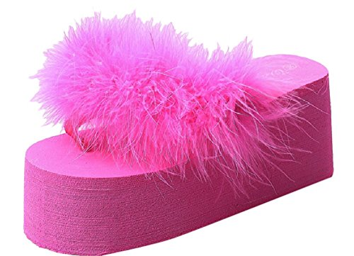 Women's Fashion Feather Studded Platform High Heel Sandals Thong Slippers (7.5, Peachpuff)