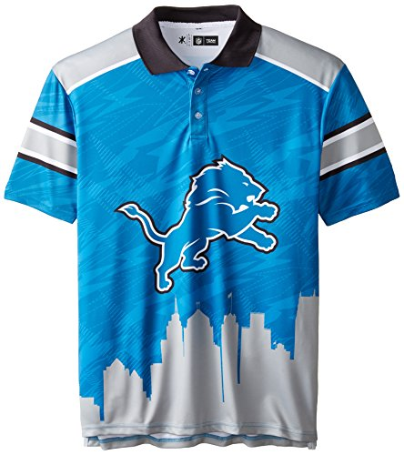 KLEW NFL Detroit Lions Polyester Short Sleeve Thematic Polo Shirt, Blue, Large (Buffalo Bills Polo)