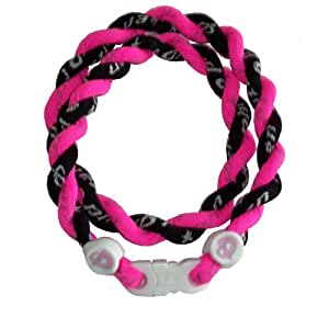 "Phiten Custom Tornado Necklace - Hot Pink with Black 18"" Finished Length"