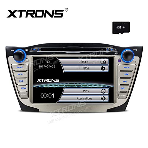 XTRONS 7 Inch HD Digital Touch Screen Car Stereo Radio in-Dash DVD Player GPS Navigation Screen Mirroring Function for Hyundai Tucson ix35 8GB TF Card Included