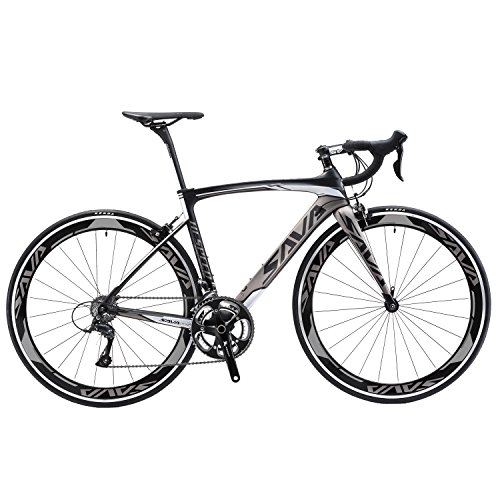 SAVADECK T700 Carbon Fiber 700C Road Bike with Shimano 3000 18 Speed Derailleur System and Double V Brake (Grey,52cm) ()