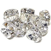Pro Jewelry (Pack of 10) Silver Plated Clear Crystal Spacer Beads