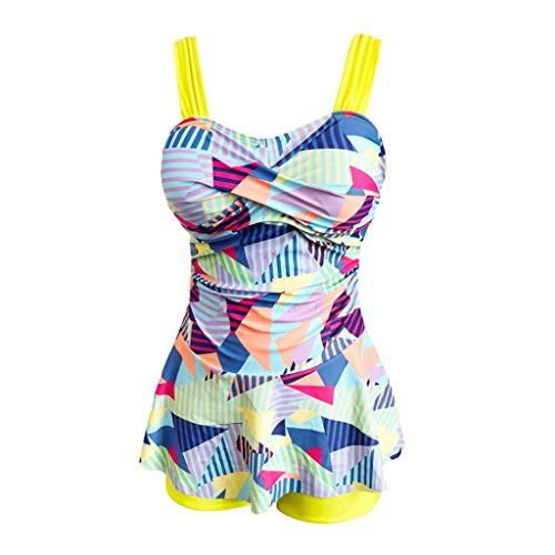 Rambling Women's High Waist Conservative Geometry Blocks Printing Swimdress Swimsuit Plus Size Swimwear S-5XL by Rambling (Image #3)