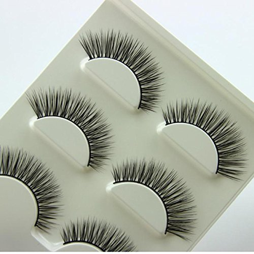 SUSSMAI 3 Pair Natural Look False Eyelashes Voluminous Eyelashes Extension Makeup 3 Pairs of Thick False Eyelashes, Z3D-01