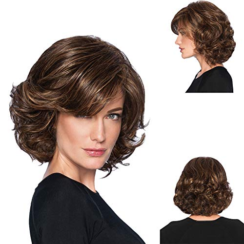 GNIMEGIL Ladies Dark Brown Short Curly Ends Synthetic Full Hair Wigs Natural Wavy Fluffy Cosplay Costume Wig for Women Layered Bangs Wigs (Short Medium Length Layered Hairstyles With Bangs)